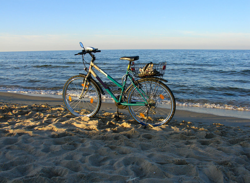 Bike on a beach royalty free stock images