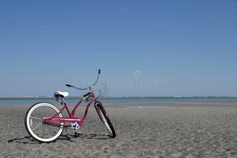 Bike on Beach stock images