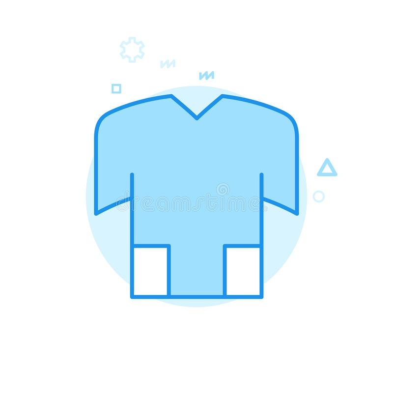 Bike or Bicycle Jersey, T-Shirt Flat Vector Icon, Symbol, Pictogram, Sign. Blue Monochrome Design. Editable Stroke stock illustration