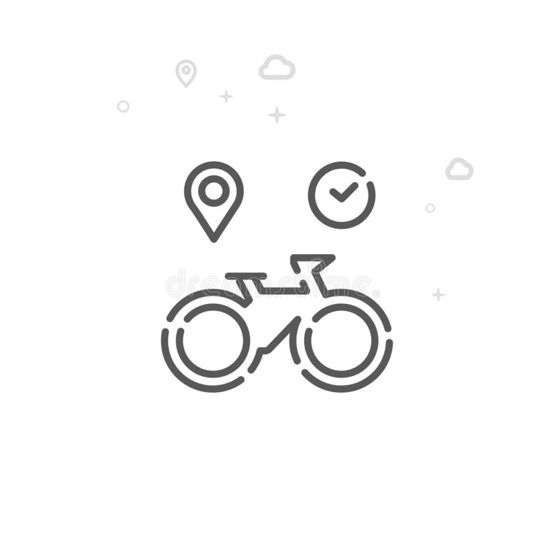 Bike or Bicycle Rental Vector Line Icon, Symbol, Pictogram, Sign. Light Abstract Geometric Background. Editable Stroke royalty free illustration