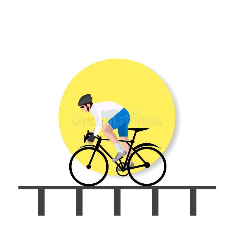 Bike bicycle riders in bridge background illustration. Man bike bicycle riders in bridge background -illustration royalty free illustration