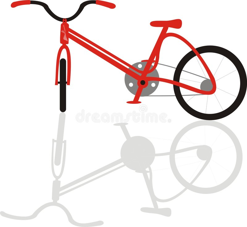 Bike Bicycle with Shadow Red stock image