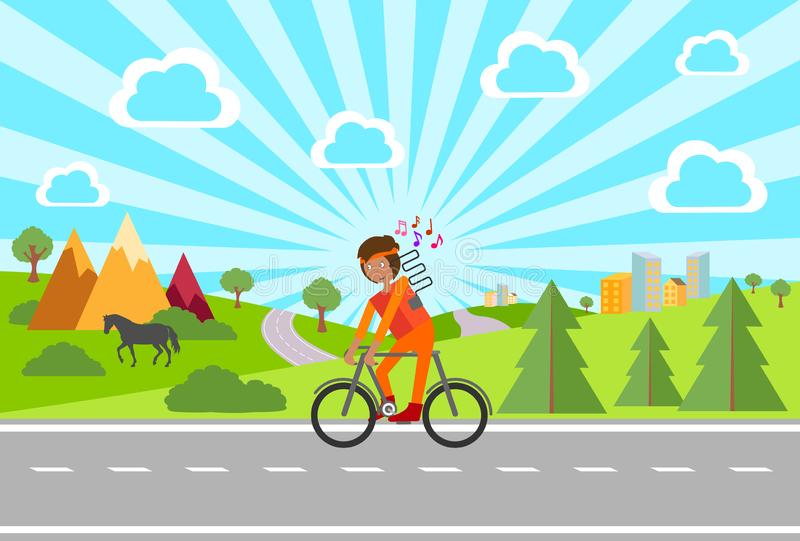 Bike. Bike ride. Man riding a bike outside the city in the open air. Vector illustration. stock illustration