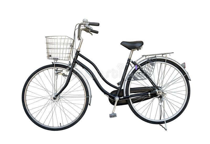 Bike black old maid for second hand from Japan, isolate on white. Background with clipping path stock photography