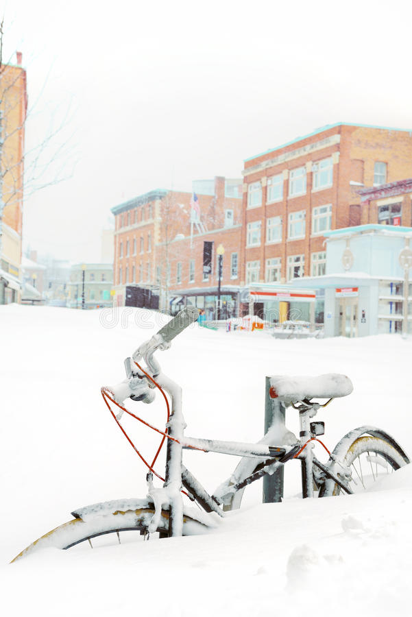 Free Bike Buried In Snow Stock Photography - 35952602