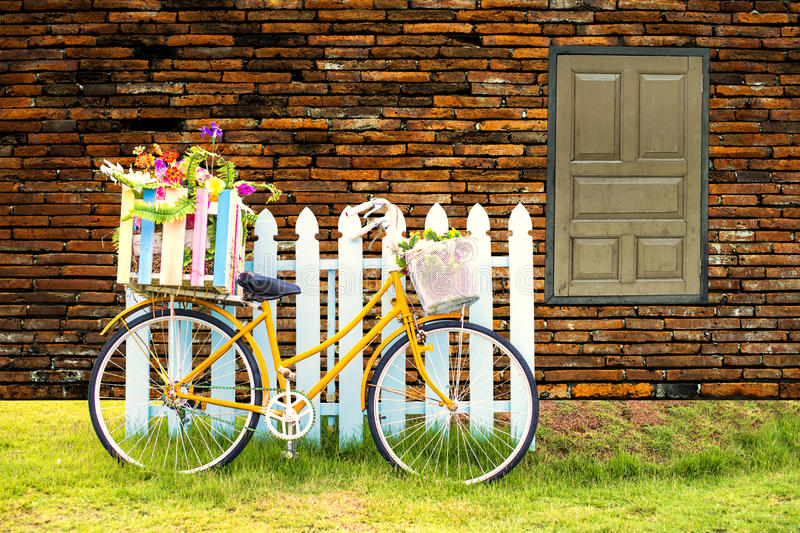 Bike carrying flowers. stock images