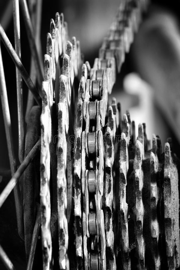 Bike Chain and Gear Cogs Links stock image