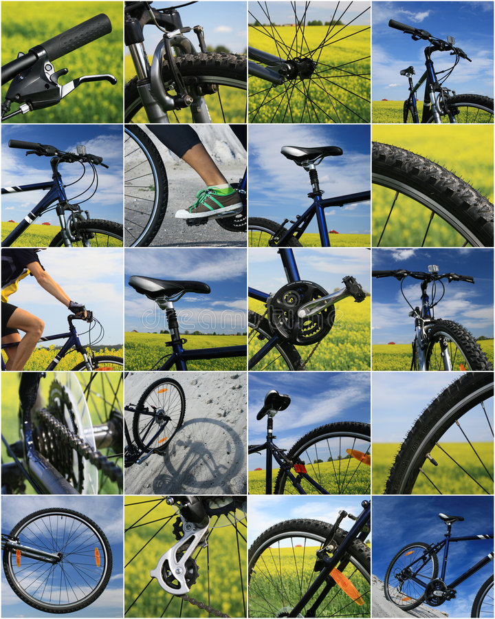 Bike collage. Fragment of bicycle of the racing bike stock photo