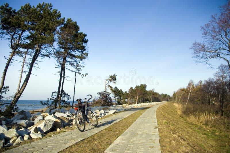 Bike on concrete path stock image