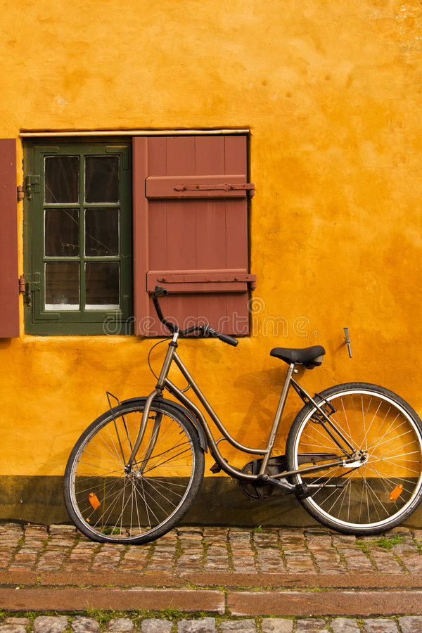 Bike and cottage stock image