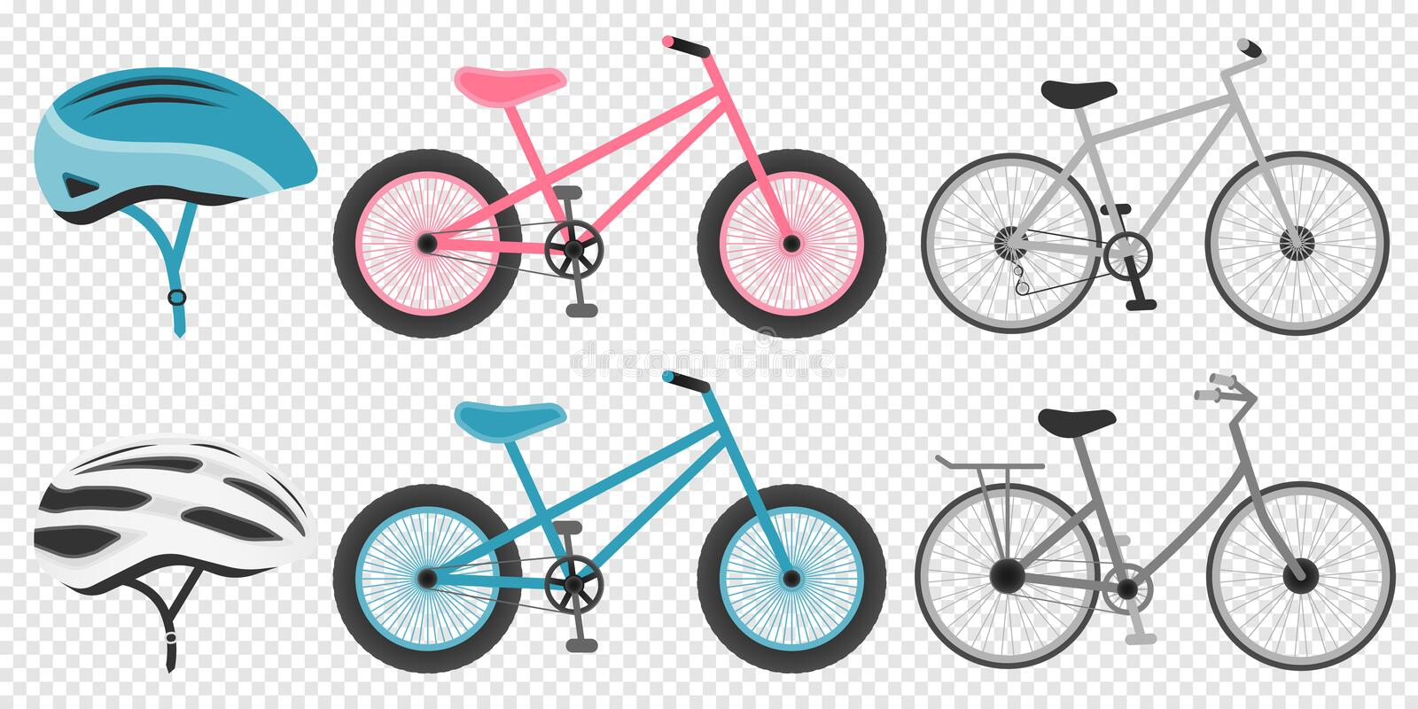 Bike and cycling accessories set colored icons set with biker helmet isolated vector illustration vector illustration