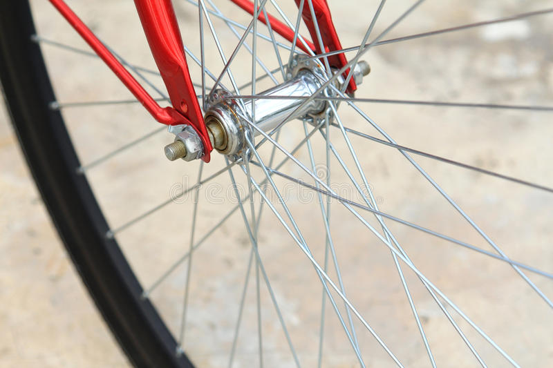 Bike. Detail of bike tire on the road royalty free stock photography