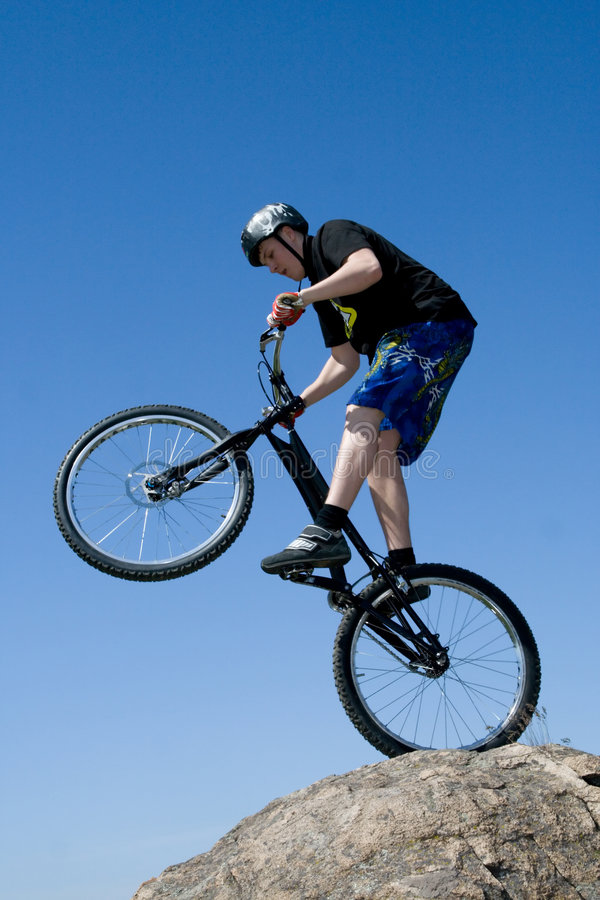 The bike extreme trick stock photo
