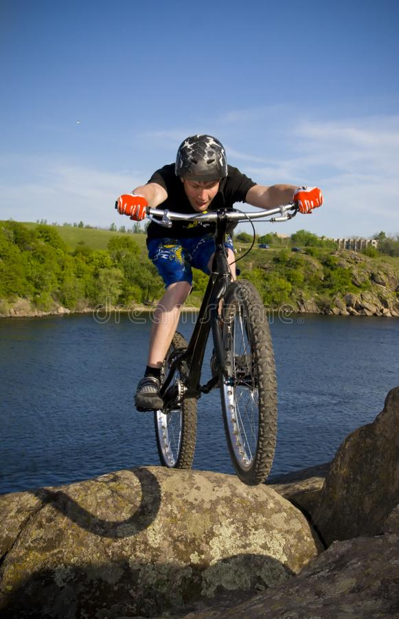 The bike extreme trick royalty free stock images