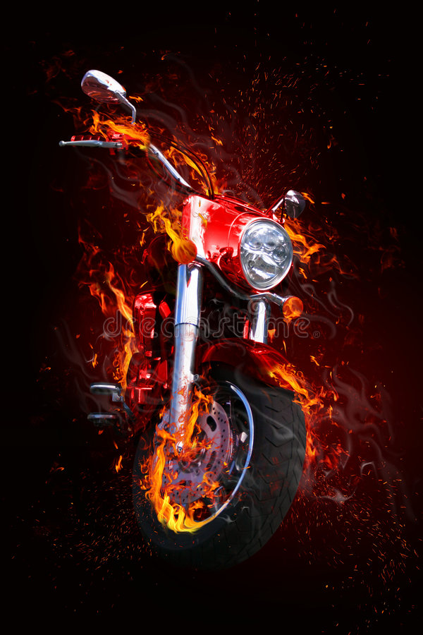 Bike in flames royalty free illustration
