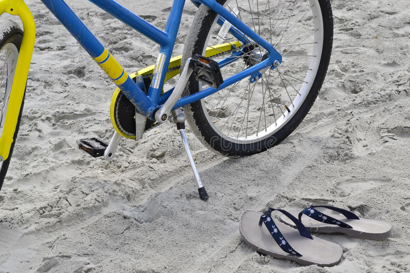 Download Bike And Flip-flops At The Beach Stock Photo - Image of bike, coastline: 30715320