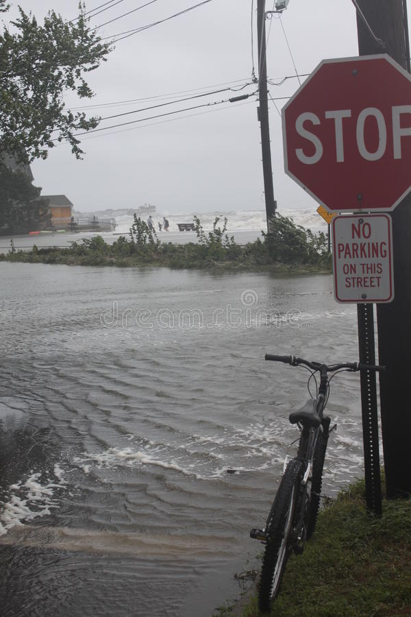 Bike by flooding royalty free stock images