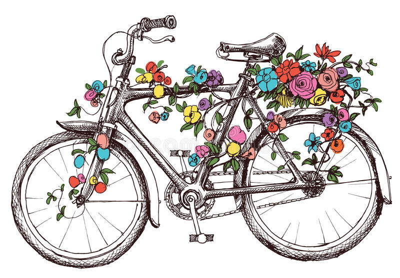 Bike with flowers royalty free illustration