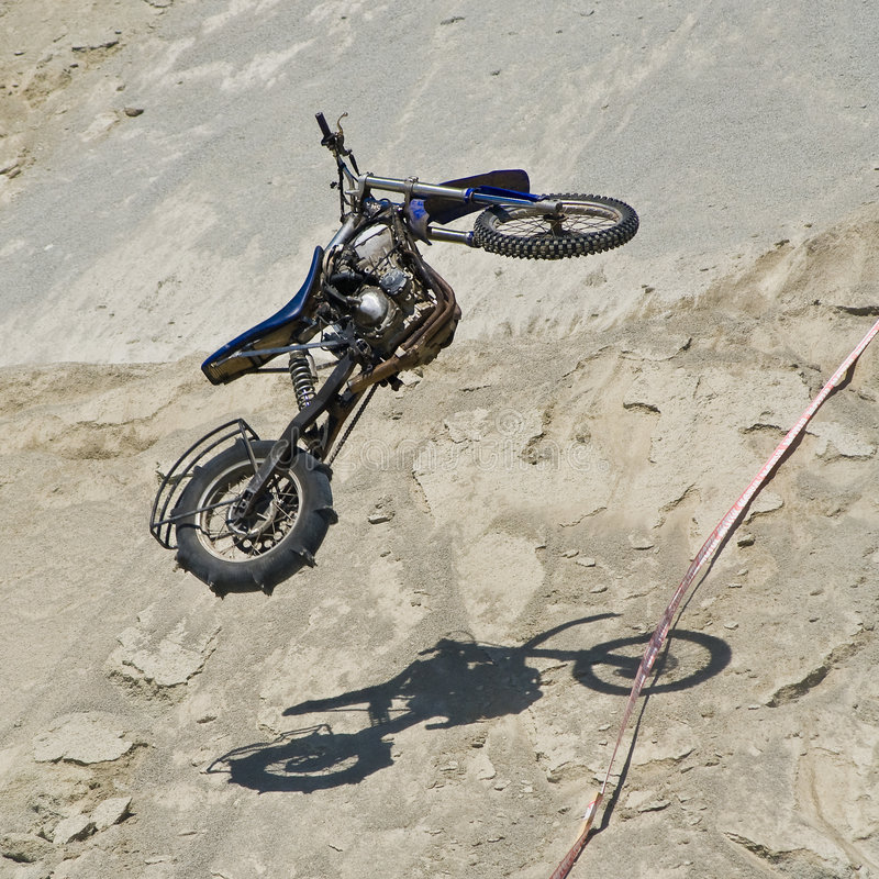 Bike flying in the air