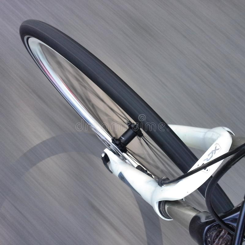 Free Bike Front Wheel In Motion Stock Photo - 41707500