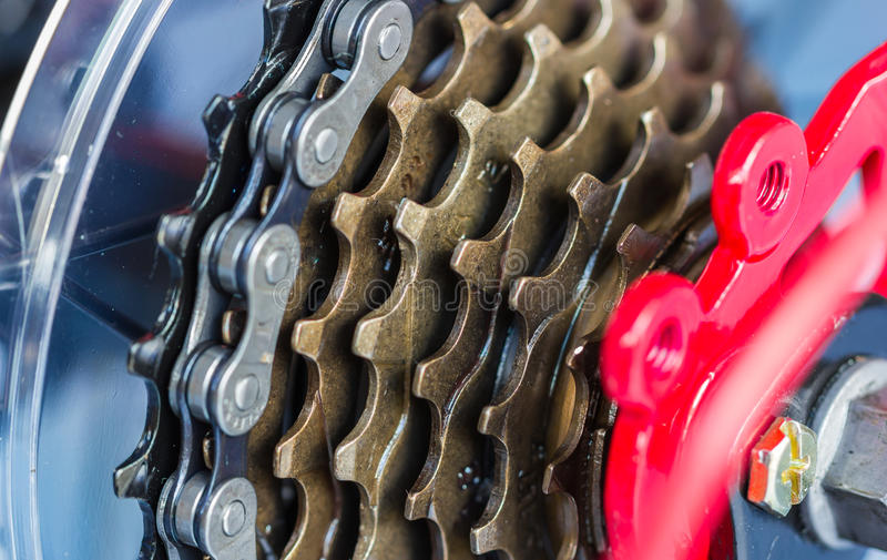 Bike gear. And wheel with chain royalty free stock photography