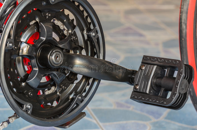 Bike gear. And wheel with chain stock photos