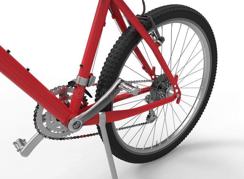 Bike gears closeup. 3D rendered illustration of a bike gear assembly. The composition is on a white background with shadows royalty free illustration