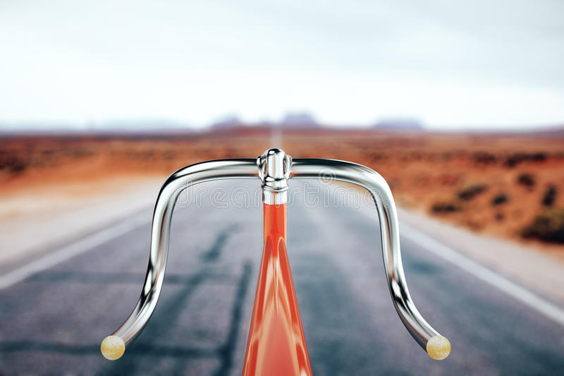 Bike handlebar, travel concept. Close up of red bicycle handlebar on road backgrpound. Traveling concept. 3D Rendering stock illustration