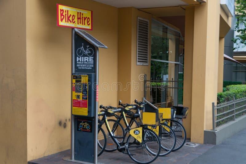 Bike hire station. Sustainable green transport sharing. Sydney, Australia - November 18, 2018: Bike hire station in Sydney CBD. Sustainable transport sharing royalty free stock image