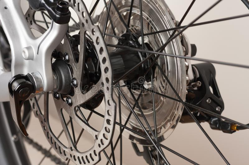 Bike hub of rear wheel, close up view, studio photo royalty free stock photos