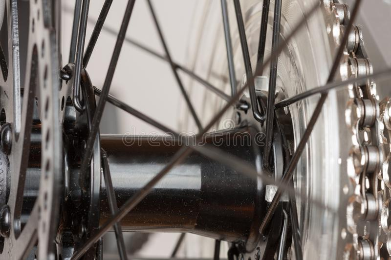 Bike hub of rear wheel, close up view, studio photo. royalty free stock photos