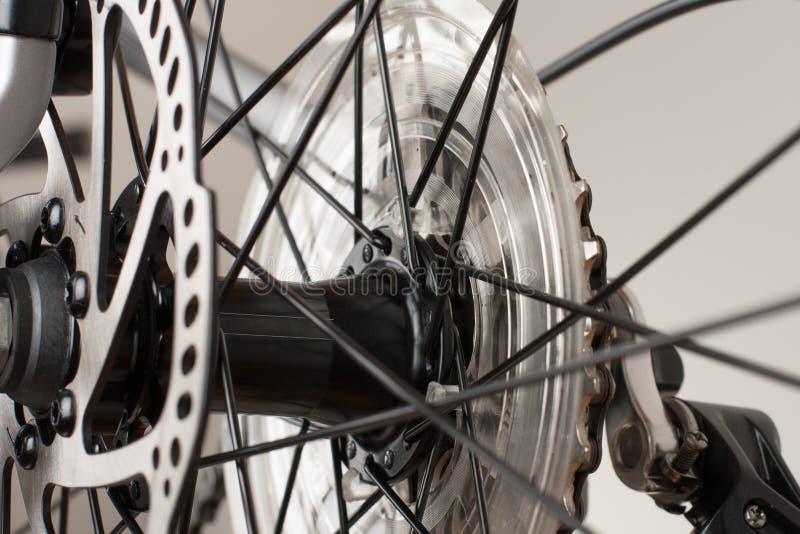 Bike hub of rear wheel, close up view, studio photo. royalty free stock photo