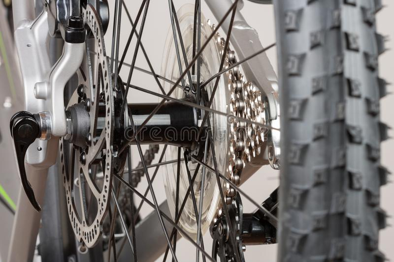 Bike hub of rear wheel, close up view, studio photo. royalty free stock images