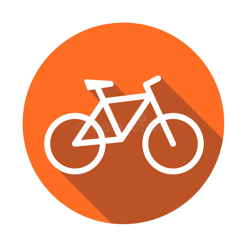 Bike icon on orange round background. Bicycle vector illustration in flat style. Icons for design, website. royalty free illustration