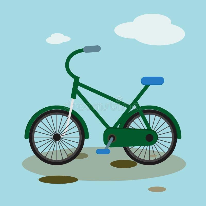 Bike il ciclismo urbano estremo di vettore della montagna dell'illustrazione piana in discesa della bicicletta illustrazione di stock