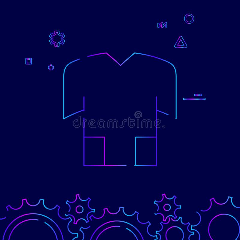 Bike or Bicycle Jersey, T-Shirt Vector Line Icon, Symbol, Pictogram, Sign on Dark Blue Background. Related Bottom Border stock illustration