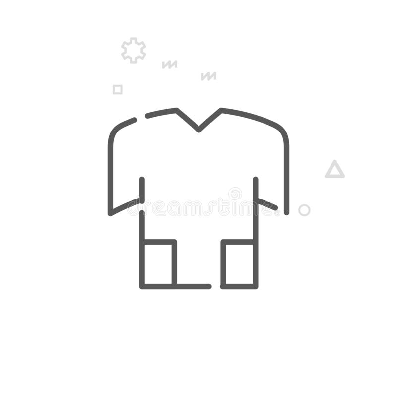 Bike Jersey, T-Shirt Vector Line Icon, Symbol, Pictogram, Sign. Light Abstract Geometric Background. Editable Stroke royalty free illustration