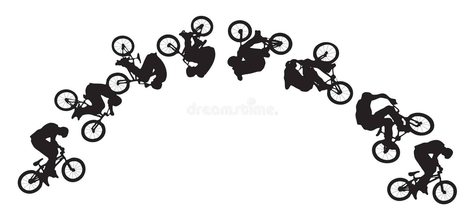 Bike jumping sequence vector illustration