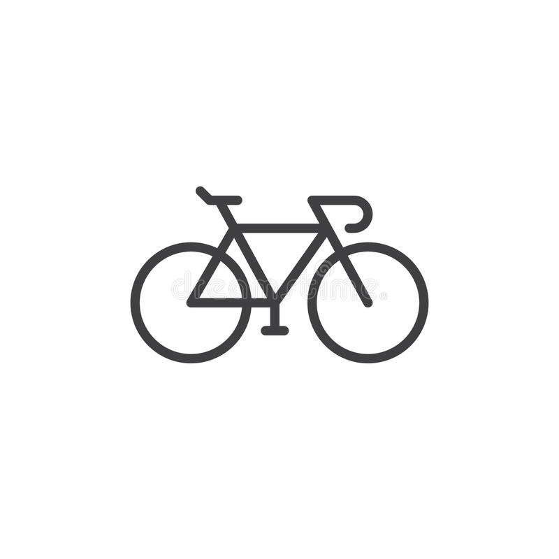 Bike, línea icono, muestra del vector del esquema, pictograma linear de la bicicleta del estilo aislado en blanco stock de ilustración