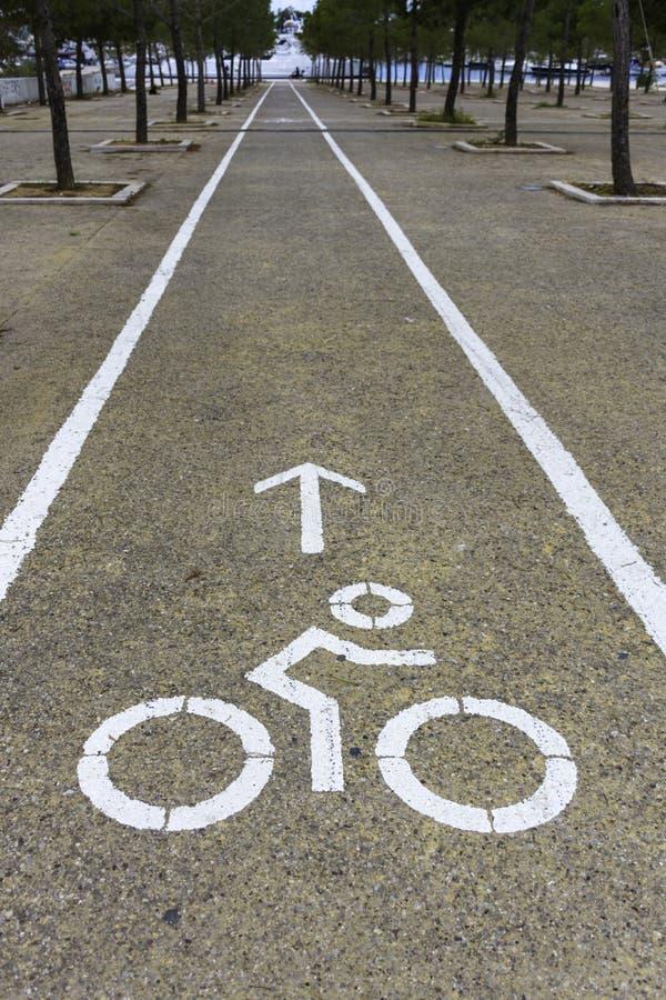 Bike lane in city park stock images