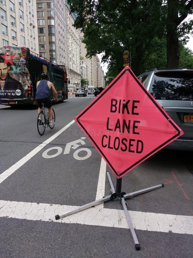 Bike Lane Closed, NYC, USA royalty free stock photos