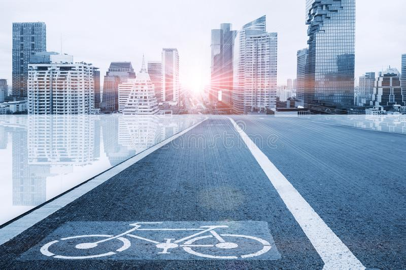 Bike lane in futuristic city for eco transport system. In future urban concept stock photography