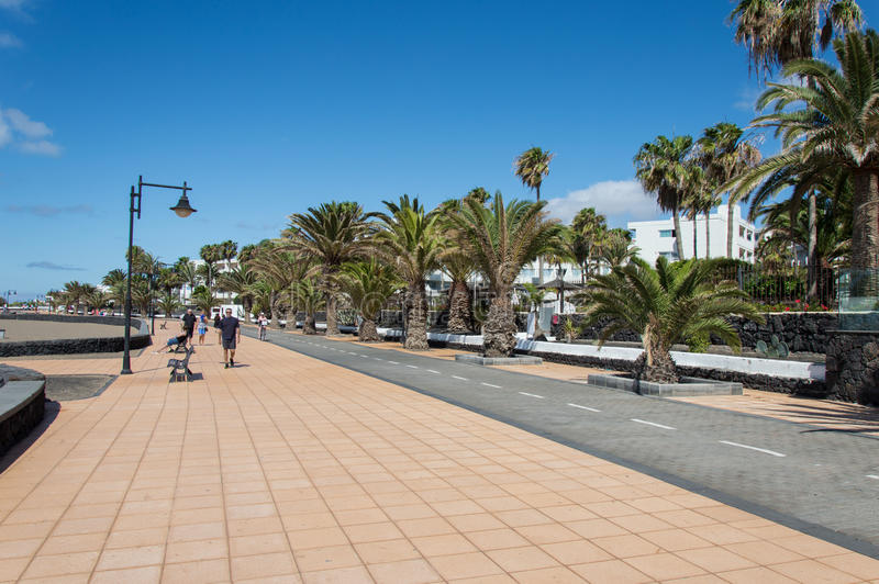Bike Lane in Lanzarote. Bike lane along Playa Honda beach in Lanzarote, Canary Island, Spain stock photo