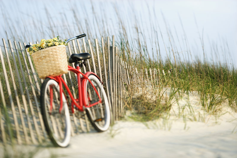 Bike leaning against fence. Red vintage bicycle with basket and flowers lleaning against wooden fence at beach