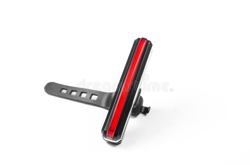 bike light,bicycle tail lamb isolated on white background,bicycle rear light royalty free stock photography