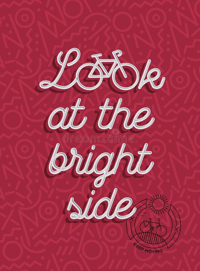 Bike motivation positive bicycle retro outline stock photos