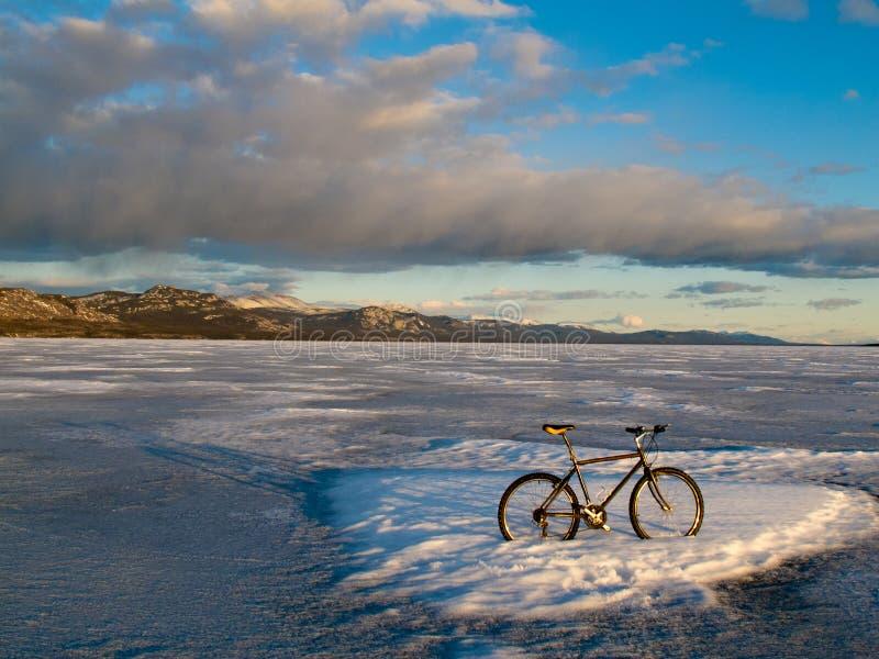 Bike no lago congelado Laberge, Yukon, Canadá imagens de stock royalty free