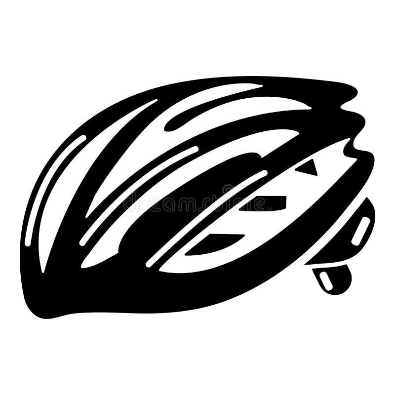 Bike o ícone da proteção do capacete, estilo preto simples ilustração stock