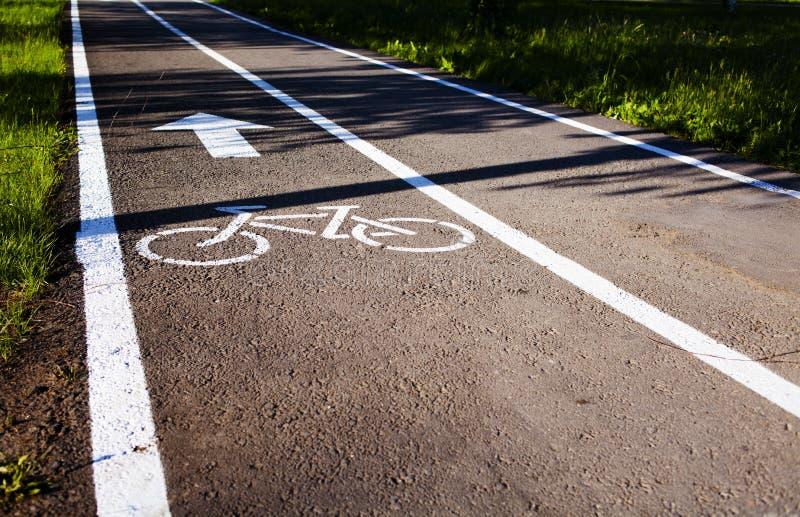 Bike o trajeto Pintura branca do sinal no pavimento ver?o fotografia de stock royalty free