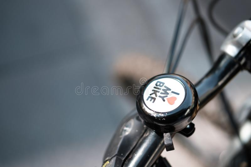 One way to get around London is on a bike. stock photography